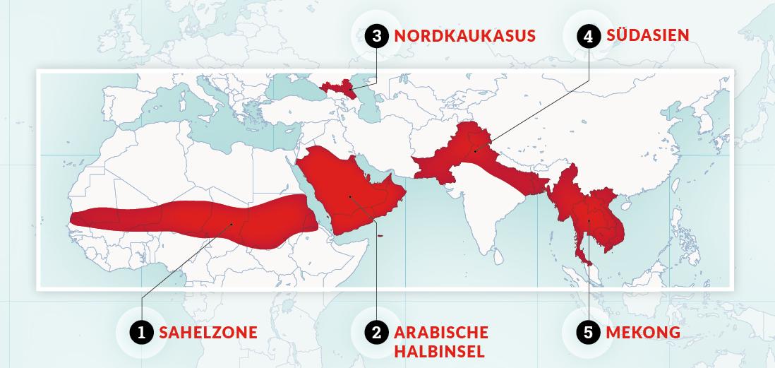 grafische Kartendarstellung der 5 OM-Fokusregionen: Sahelzone, Arabische Halbinsel, Nordkaukasus, Südasien und Mekong-Region