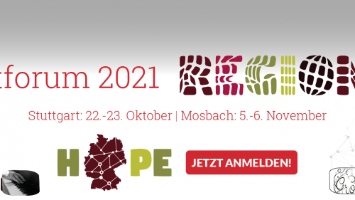 Einladung zum Kunstforum 21, das dezentral an drei Orten (Hanau, Stuttgart, Mosbach) stattfinden wird.