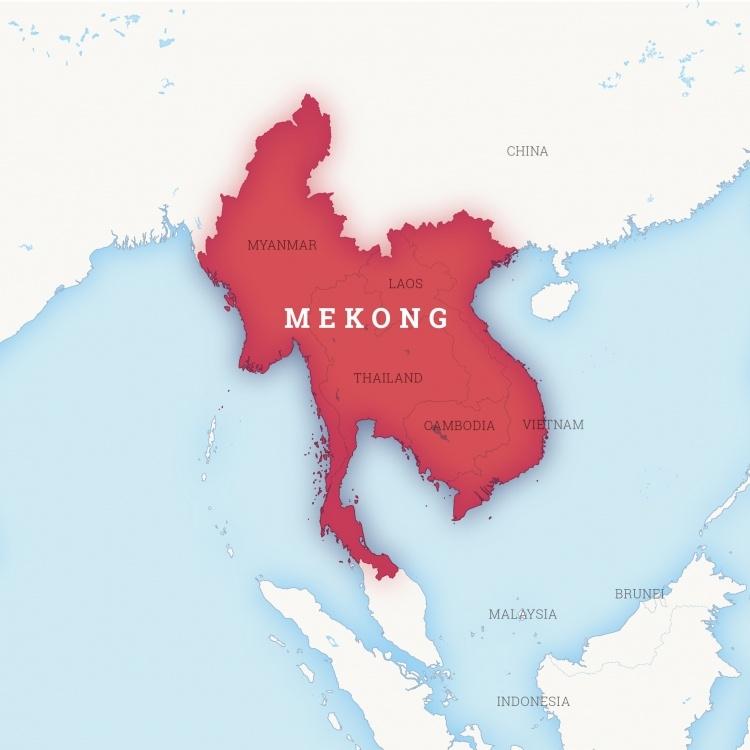 Kartenausschnitt auf dem die Mekong-Region in Südostasien hervorgehoben ist