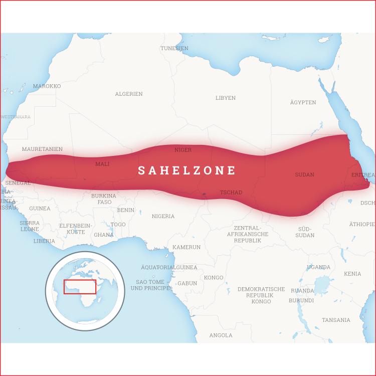 Karte von Nordafrika, auf der die Sahelzone hervorgehoben ist