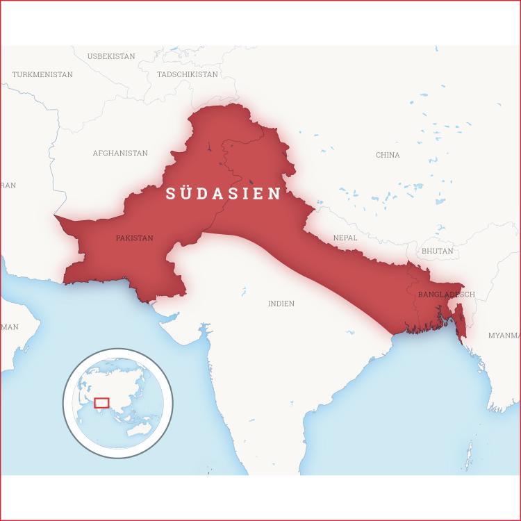 Kartenausschnitt auf dem Südasien hervorgehoben ist