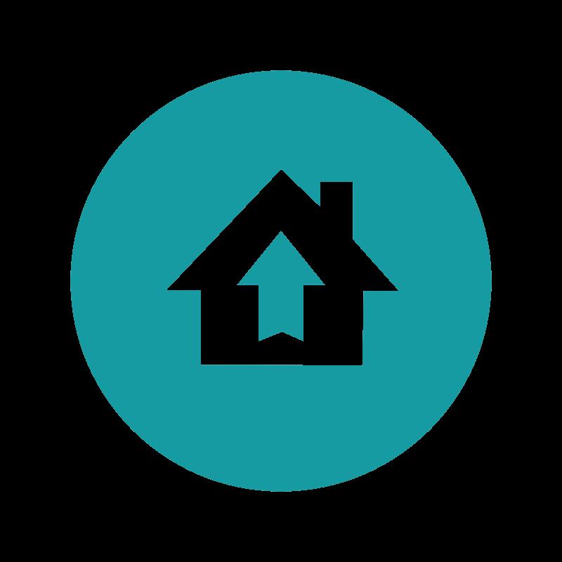 Icon Gemeinden motivieren (Haus mit Pfeil nach oben)