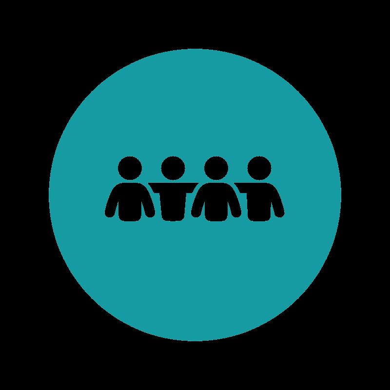 Icon Gemeinschaft leben (vier Personen, die sich umarmen)