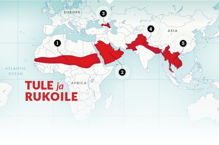 Operaatio Mobilisaation tärkeät rukousalueet kartalla.