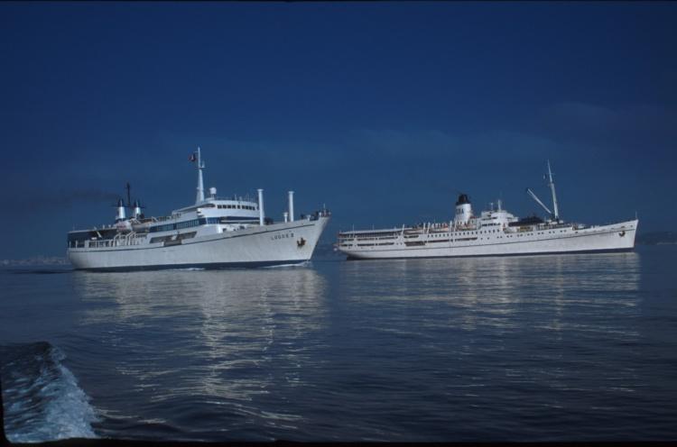 Doulos and Logos II sailing out of Toulon, France - November 1994 - Susanna Burton