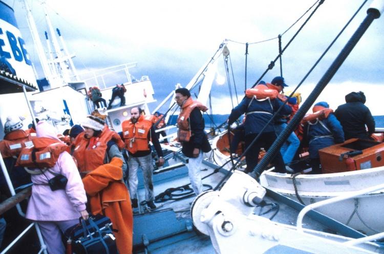 Logos staff getting into life boats - 05 Jan 1988 - Beagle Channel, Chile - Susanna Burton
