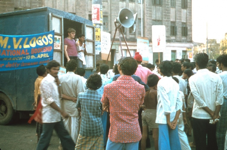 Open air preaching from the back of a truck was the most common form of evangelism in the early days of the ship ministry in India. - Calcutta, India - 01 Apr 1979 - Staff Photographer